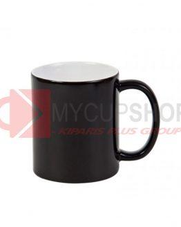 Кружка керамическая, хамелеон глянцевая, черная, 330 мл