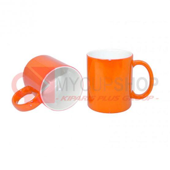 Кружка керамическая, хамелеон, оранжевая, 330 мл
