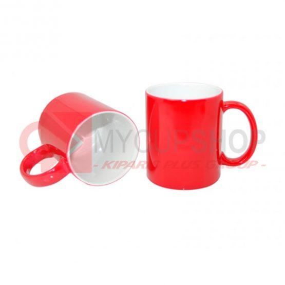 Кружка керамическая, хамелеон, красная, 330 мл