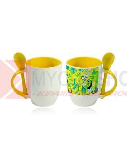 Кружка керамическая, белая, внутри, ручка и ложка желтые, 330 мл