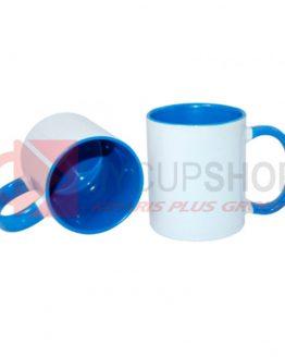 Кружка голубая внутри с голубой ручкой