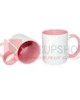 Кружка розовая внутри с розовой ручкой