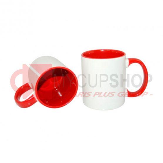 Кружка красная внутри с красной ручкой
