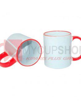 Кружка белая с красной ручкой и ободком