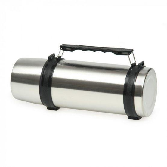Термос с ручкой серебристый